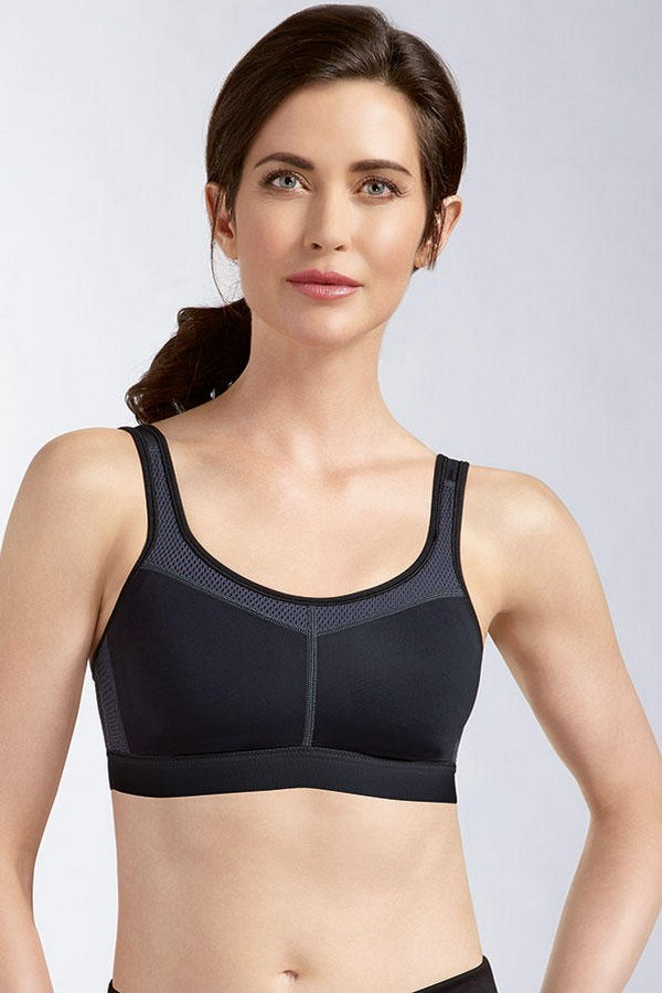 POWER SPORTS BRA MEDIUM SUPPORT | Black Grey | Front View