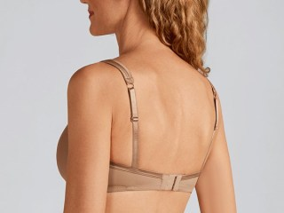 LARA SATIN NON-WIRED BRA | Nude | Front View