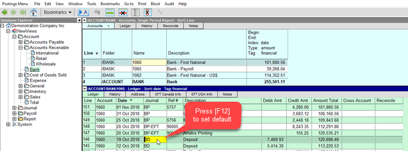 Setting Default Journals For Account Ledgers Newviews Accounting Software