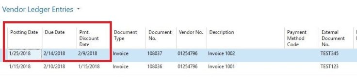 Payment Terms for Accounts Payable in Microsoft Dynamics NAV