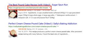 url optimization - pound cake SERP