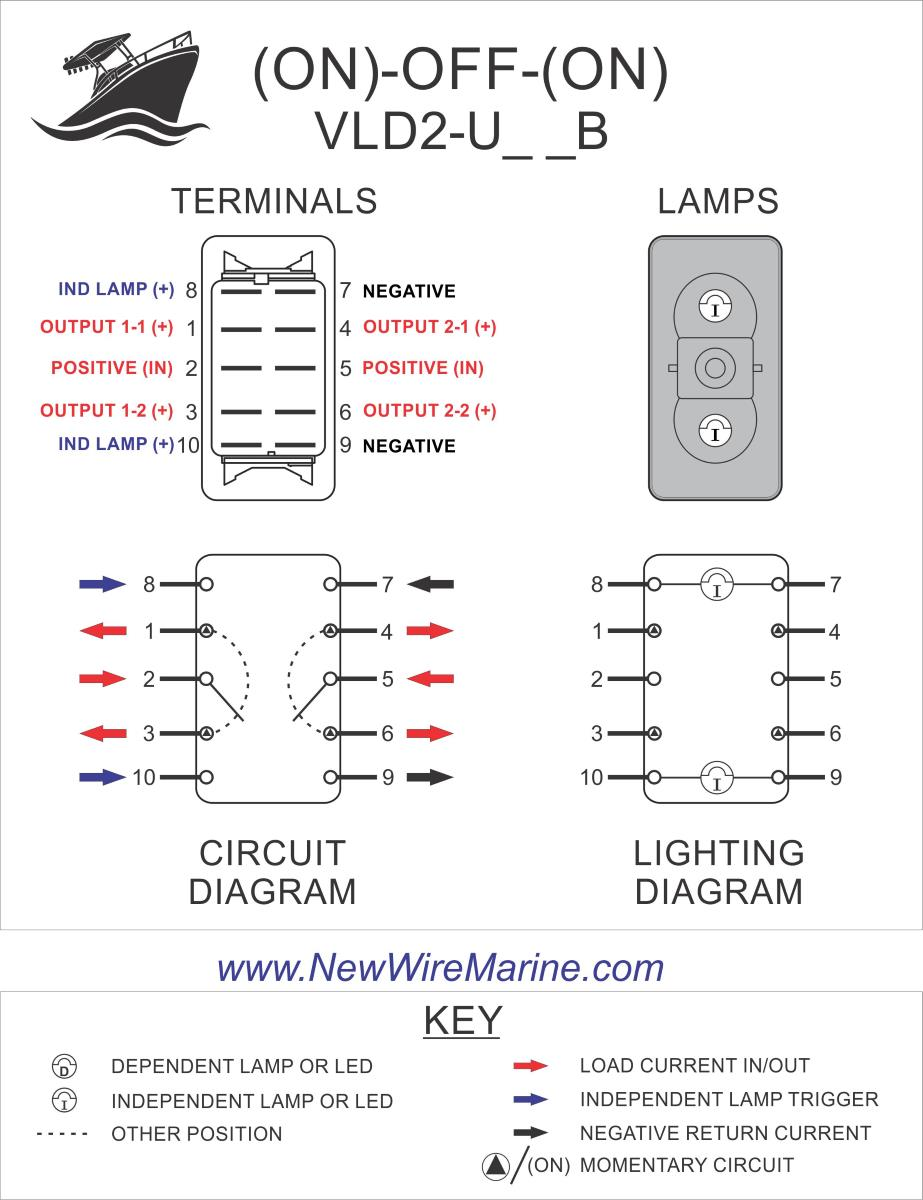 Carling Switch Wiring Diagrams : carling, switch, wiring, diagrams, Plate, Illuminated, Rocker, Switch, Contura, Backlit, Marine