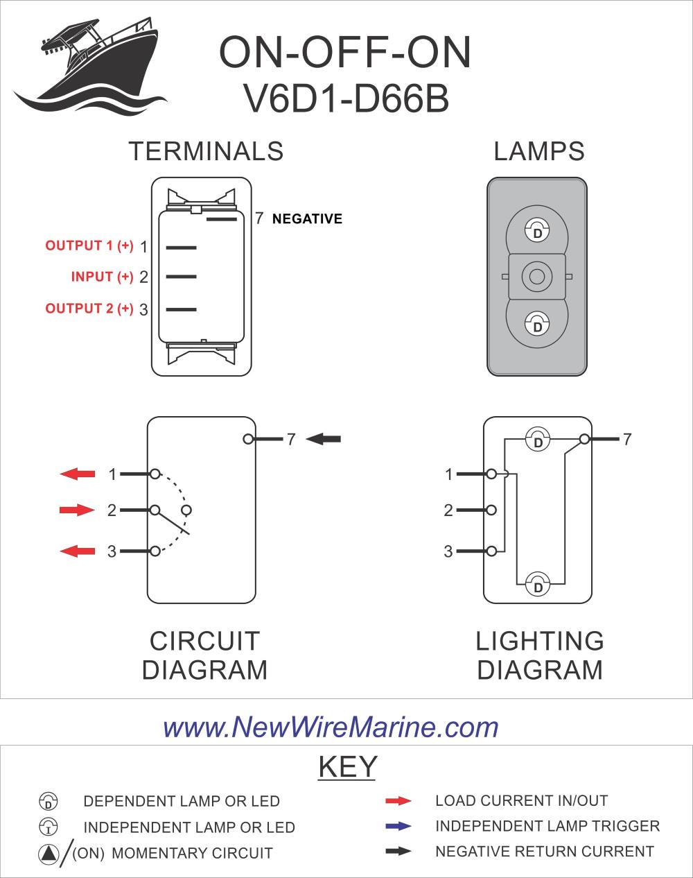 Carling Switch Wiring Diagrams : carling, switch, wiring, diagrams, V6D1-D66B, ON-OFF-ON,, Rocker, Switch, Marine