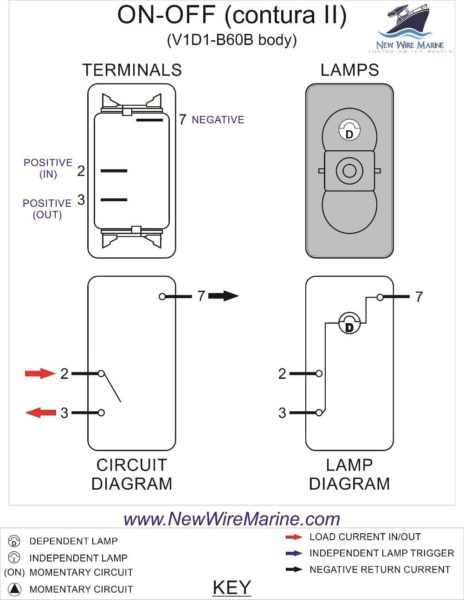 marine wiring diagram 12 volt ixl tastic neo on-off rocker switch | carling v1d1 new wire