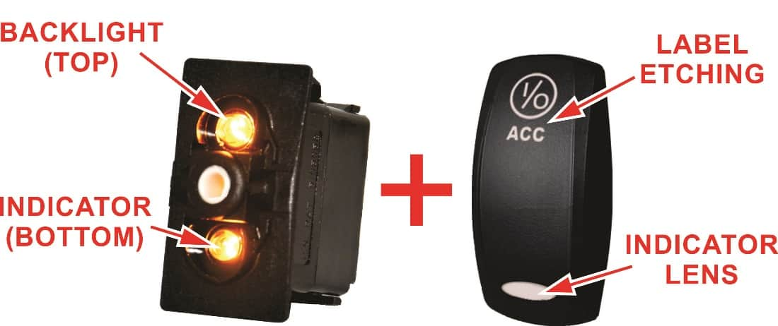 illuminated marine rocker switches 1970 vw beetle ignition wiring diagram contura v laser etched new wire have two lamps one independent backlight at top and dependent
