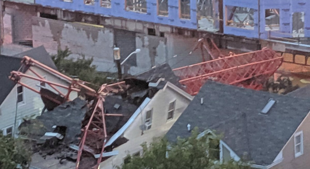 Crane Lands On Home In New Brunswick, N.J.