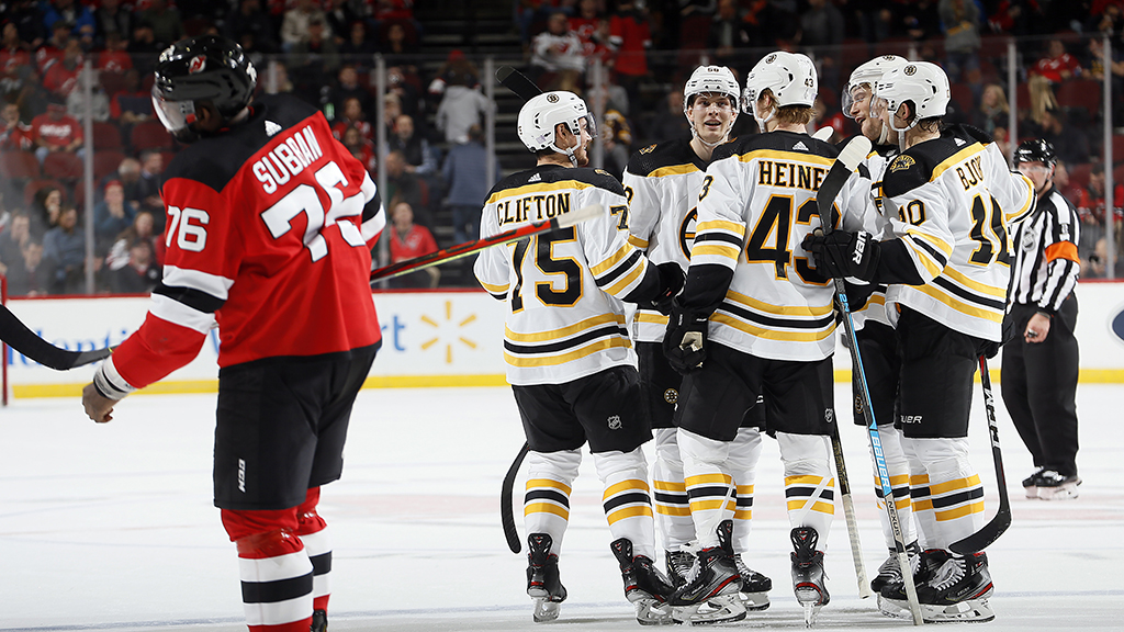Pastrnak, Grzelcyk Both Score Twice, Bruins Beat Devils 5-1