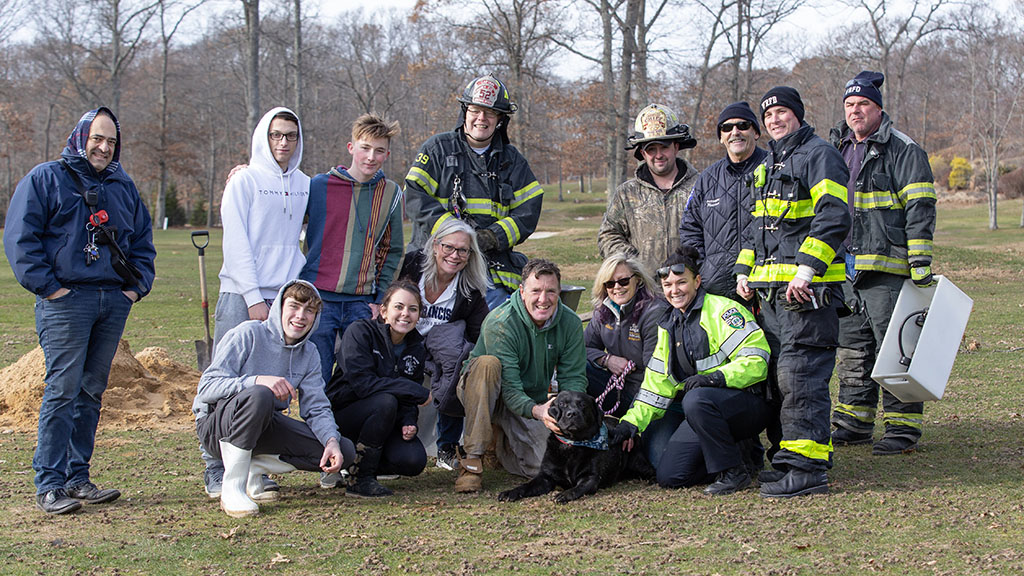 110-Pound Dog Rescued After Getting Stuck In A Drain Pipe On Long Island