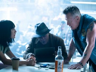 Maggie Q as Anna, Samuel L. Jackson as Moody, and Robert Patrick as Billy Boy in The Protégé.