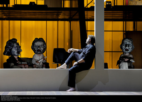 James Rutherford as Hans Sachs communes with the Authorities in Die Meistersinger, Act II, sc. 1. Photo Bayreuther Festspiele GmbH / Enrico Nawrath.