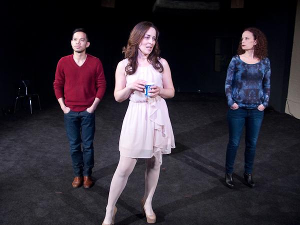 Jon Norman Schneider, Birgit Huppuch, Maria Striar (l-r) in Erin Courtney's, A Map of Virtue. Photo Scott Adkins.