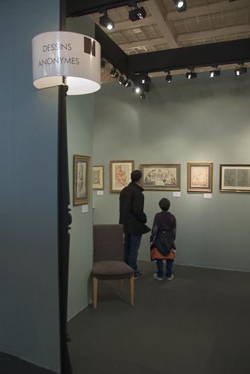 Father and son in the gallery of anonymous drawings at the Salon du Dessins, 2010. Photo © 2010 Michael Miller.