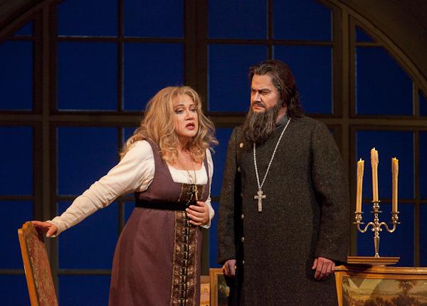 Olga Borodina as Marfa and Ildar Abdrazakov as Dosifei in Mussorgsky's €Khovananshchina. Photo: Ken Howard/Metropolitan Opera.