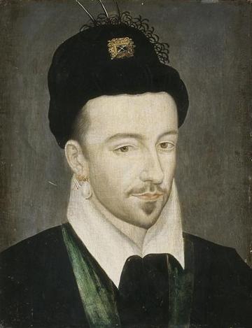 Portrait of Henri III of France wearing a Polish Hat, oil on wood. Musée de châteaux de Versailles et de Trianon.