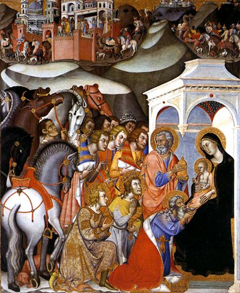 Bartolo di Fredi, Adoration of the Magi, tempera on panel. Pinacoteca Nazionale, Siena.