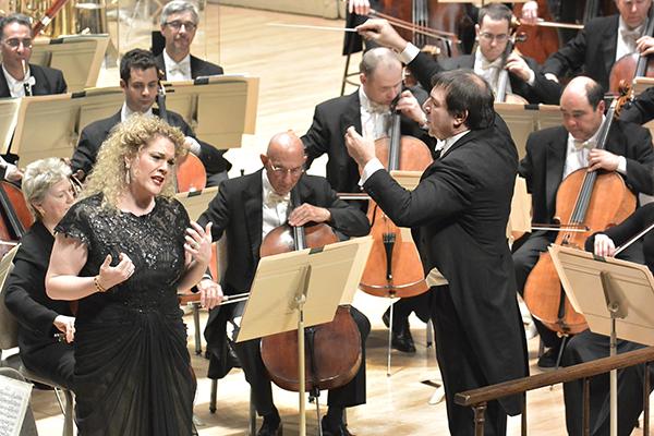 Michelle DeYoung and Daniele Gatti in an all-Wagner Program with the BSO (Black Dress). Photo Stu Rosner.