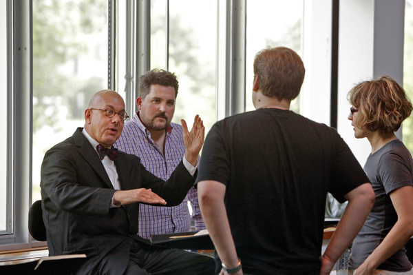 L to R: Leon Botstein, Music Director; Thaddeus Strassberger, Director; Andrey Borisenko, Aegisthus; Roza Tulyaganova, Translator/Assistant Director. Bard Summerscape's Oresteia. Photo Cory Weaver.
