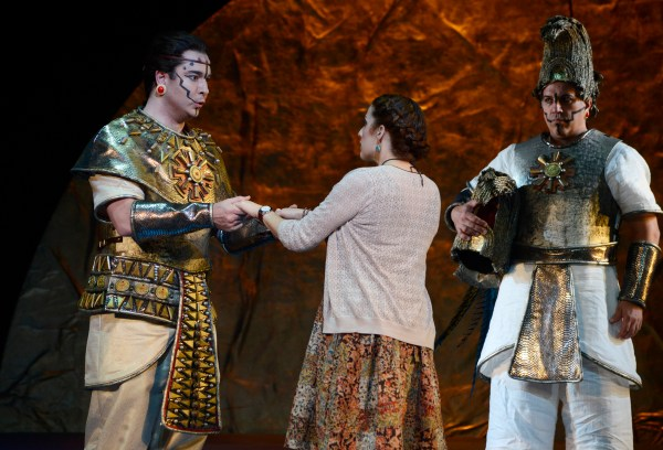 David Cushing as Sarastro Deborah Selig as Pamina in BLO's Magic Flute. Photo Eric-Antoniou.