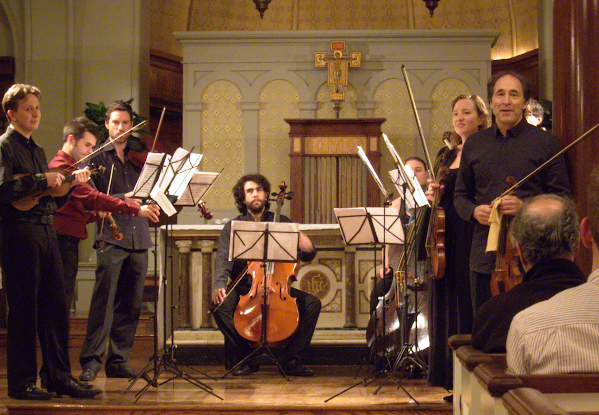 Les Hémisphères réunis at  St. Luke's in the Fields: Jude Ziliak, Matthew Greco, James, Eccles, Anthony Albrecht, Pippa Macmillan, Skye McIntosh, and Marc Destrubé. Photo © 2014 Michael Miller.