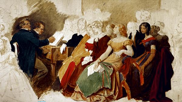 A Schubertiade at Josef von Spaun's, by Moritz von Schwind, ca. 1870.  Oil on canvas.