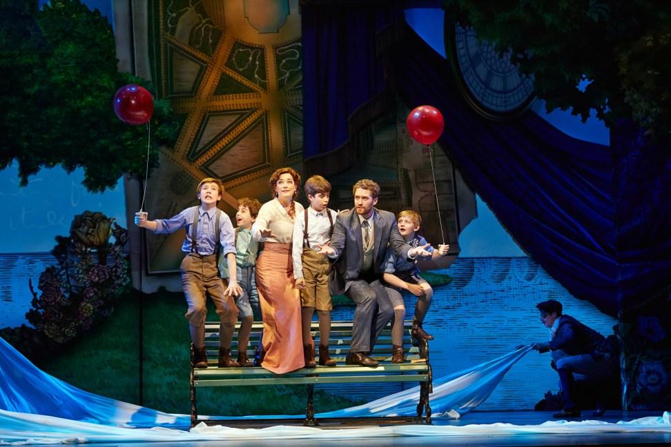 Finding Neverland, (L-R) Sawyer Nunes, Alex Dreier, Laura Michelle Kelly, Aidan Gemme, Matthew Morrison, Christopher Paul Richards. Photo © Carol Rosegg.