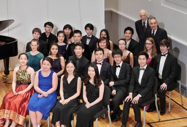 Melvin Stecher and Norman Horowitz with the 2016 finalists of the New York International Piano Competition