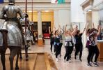Monica Bill Barnes troupe exercised their way through the Met's armor court, the author front and center.