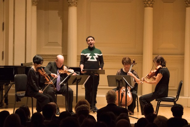 """Eriko Sato, Violin; Calvin Wiersma, Violin; Ah-Ling Neu, Viola; Ruth Sommers, Cello; Philip Edward Fisher, Piano; and Mohammed Fairouz, Composer & Vocals; perform his song cycle """"Evermore."""" Photo © 2017 Richard Termine."""