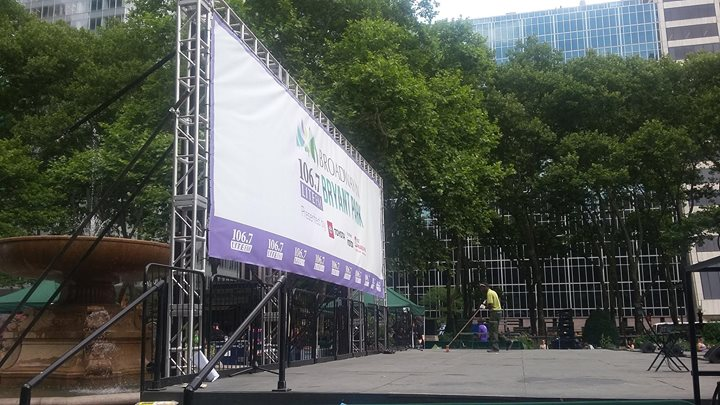 Here we are ready to kick off another year of Broadway in Bryant Park. Show starts at