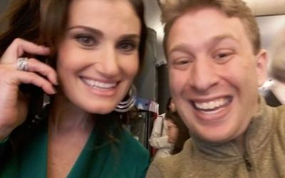 Michael with Tony winner Idina Menzel coming out of the Drama League Awards.   This a