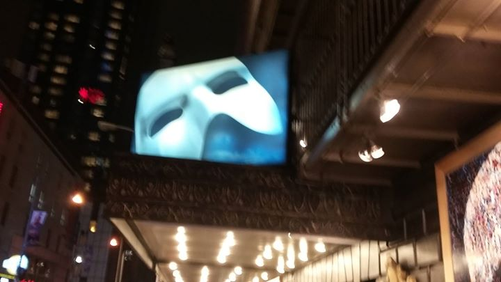 ON THE MARQUEE:  Broadway's longest running show Phantom updated it's front of house