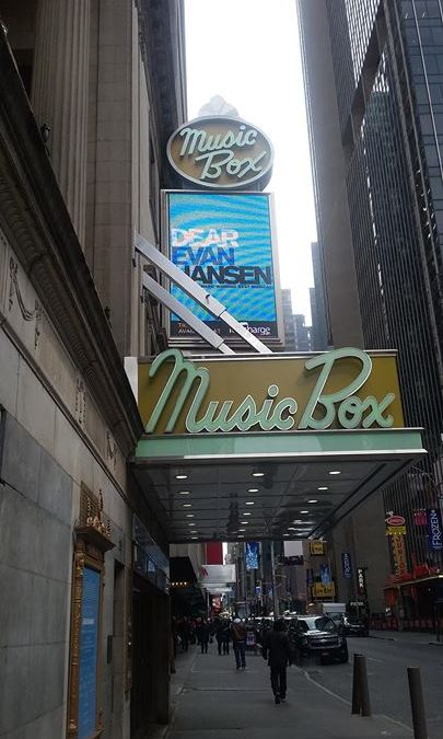 ON THE MARQUEE: The front of house billboards of the Music Box Theatre have been upda