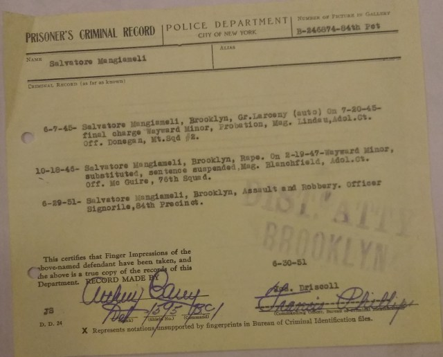 Salvatore Mangiamelli's Prisoner's Criminal Record