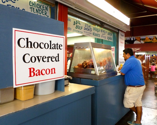 Eating at a State Fair chocolate covered bacon