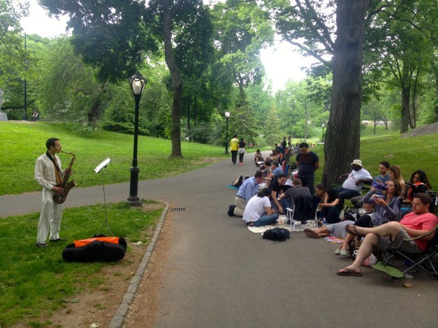 shakespeare in the park line sax player