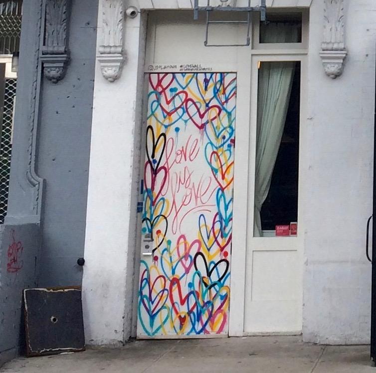 love door & Love Wall Street Art in No More in NoLita - New York Cliché