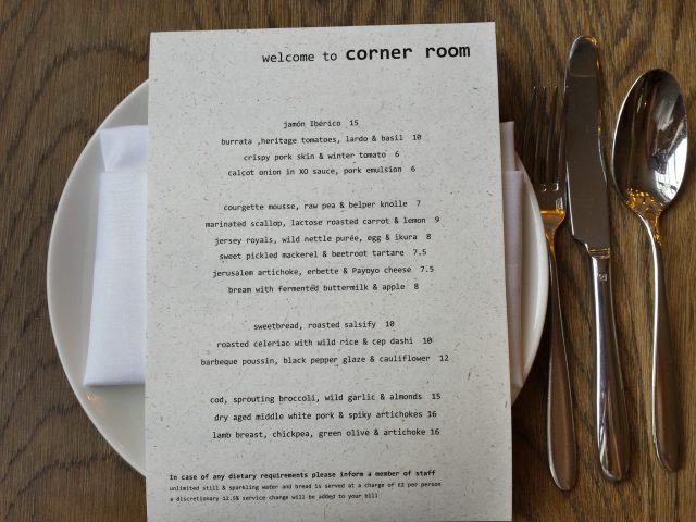 Corner Room Menu - New Yorker Meets London