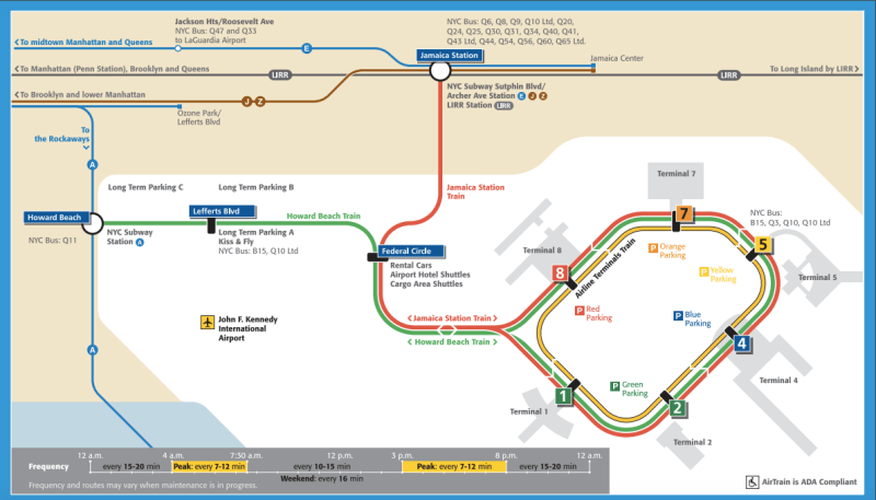 Jfk airport to manhattan how to go new yorker tips blog airtrain map sciox Choice Image
