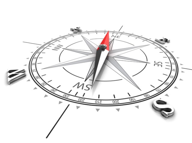 Flat compass pointing northeast