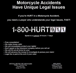 Lawyer Ad in New York Motorcycle Magazine