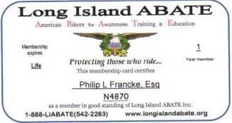 ABATE Lifetime member Philip Franckel