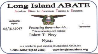 ABATE Lifetime Member ID Card Robert Plevy
