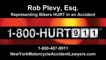 New York motorcycle lawyer Rob Plevy's business card