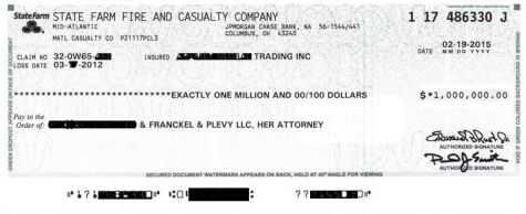 $1M settlement check