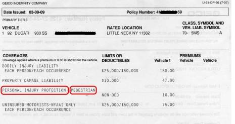 NY motorcycle insurance policy showing No-Fault coverage
