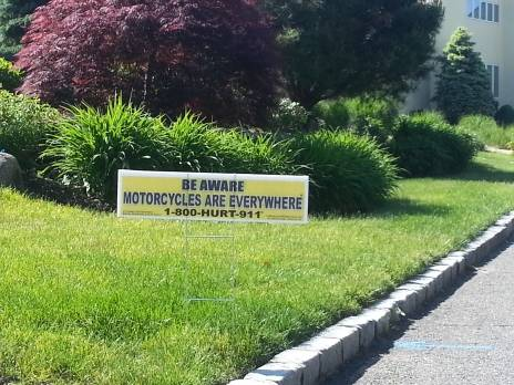 motorcycle awareness lawn sign