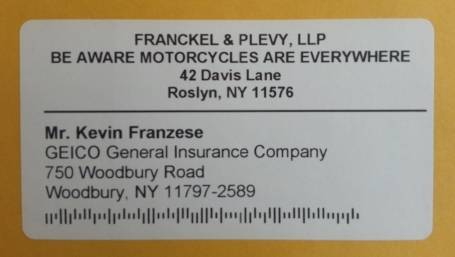 motorcycle awareness mailing label