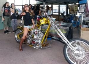 Wife on custom motorcycle