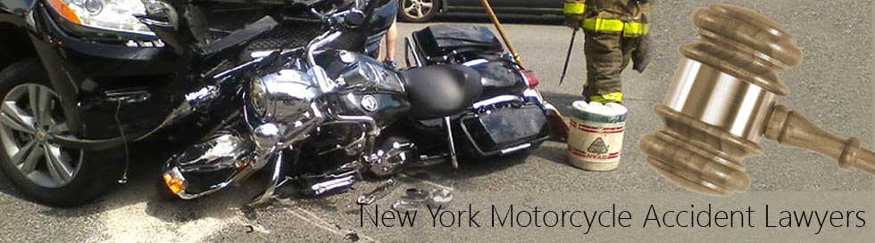 Harley Davidson motorcycle hit by a car making a left turn was client of New York Motorcycle Accident Lawyers 1-800-HURT-911® - NYMotorcycleAttorneys.com header image