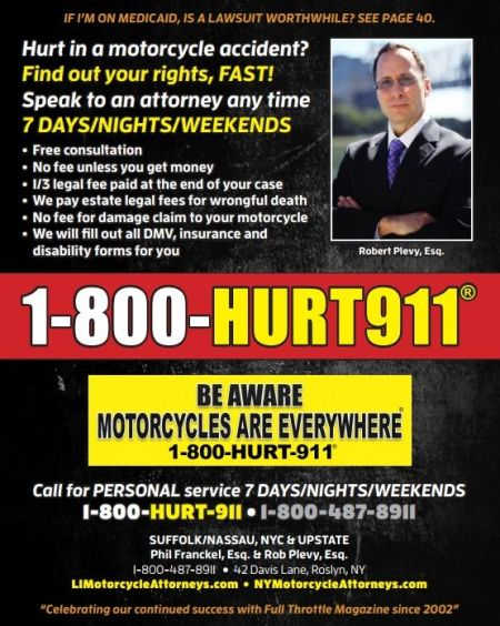 New York motorcycle accident lawyer magazine ad